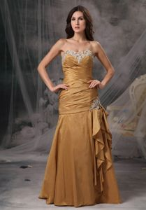 Mermaid Gold Sweetheart Graduation Dress in Taffeta with Beading