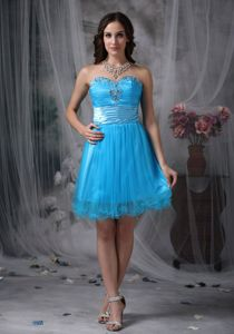 Teal Sweetheart Organza Graduation Dress with Beading Mini-length
