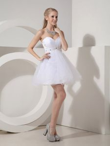 White Sweetheart Organza University Graduation Dress with Beading