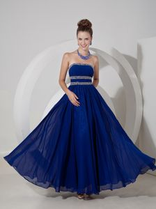 Royal Blue Strapless Chiffon College Graduation Dress with Beading