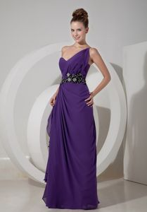 Purple Chiffon Graduation Dresses for College with Beaded Waist