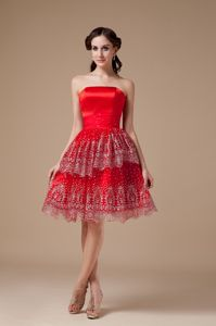 Red Strapless Print Beaded Evening Dress for Graduation Discount
