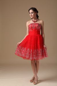 Print Strapless Red Graduation Dresses for Grade 8 in Abbotsford