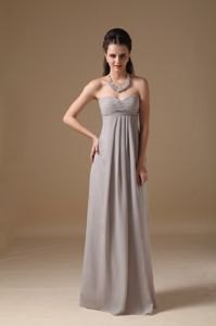 Gray Sweetheart Chiffon Floor-length Eighth Grade Graduation Dress