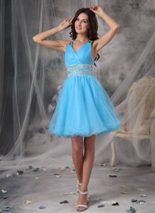 Beaded Graduation Dress for Middle School with Criss Cross Back