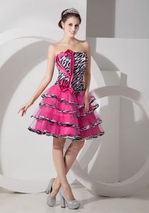 Affordable Zebra Print Organza Junior Graduation Dress with Layers