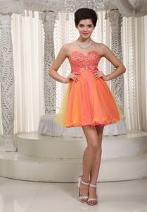 Cute Organza Sweetheart Beaded Graduation Dresses for 8th Grade