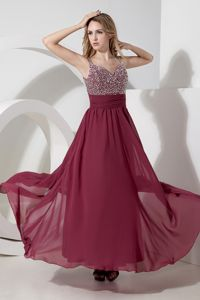 Chiffon Side Zipper Beading Graduation Dresses for Middle School