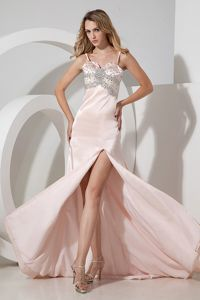 Baby Pink High Slit Spaghetti Straps Graduation Dress with Beads