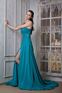 Court Train Beading College Graduation Dress with Slit on the Side