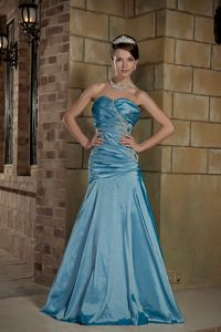 Teal Lace-up Beading Ruche Taffeta Eighth Grade Graduation Dress