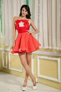 Zipper-up Red Short Middle School Graduation Dress with Flowers