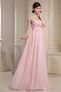 Baby Pink Beaded One Shoulder Ruched Long Graduation Dresses