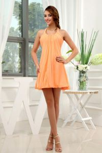 Halter Orange Zipper-up Ruched Short 8th Grade Graduation Dress