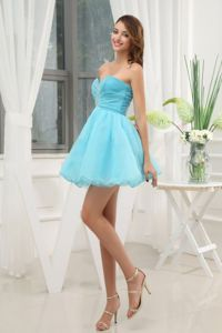Lovely Sweetheart Aqua Blue Mini-length Junior Graduation Dresses