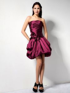Strapless Short Grad Dresses with Flower and Pick-ups in Burgundy