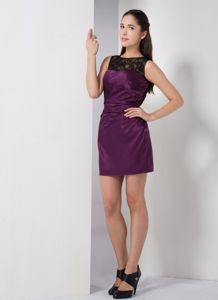 Elegant Lace Bateau Dark Purple Short Graduation Ceremony Dress