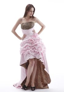 Leopard Baby Pink High-low Grad Dress with Flower and Pick-ups