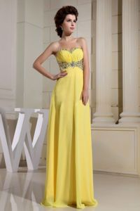 Yellow Sweetheart Ruched Long College Grad Dress with Beadings