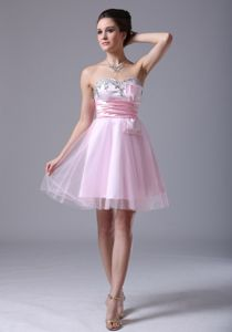Pretty Sweetheart Beaded Pink Short Junior Grad Dresses with Bow
