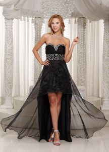 Sweetheart High-low Black Beaded Eighth Grade Graduation Dress