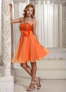 Orange Sweetheart Short Grad Dress with Flowers Belt and Sequins
