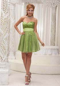 Cute Spring Green Sweetheart Short Junior Grad Dresses with Sash