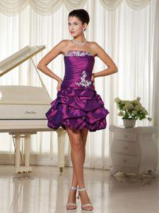 Appliqued Purple Strapless Short Graduation Dresses with Pick-ups