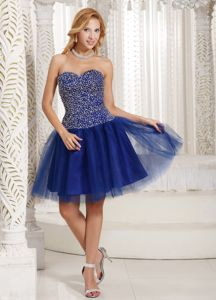 Peacock Blue Beaded Sweetheart Eighth Grade Graduation Dresses