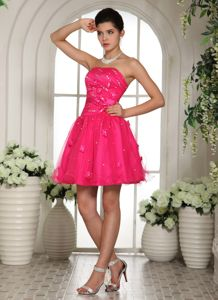 Hot Pink Lace-up Short 5th Grade Graduation Dress with Appliques