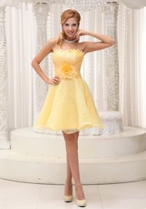 Strapless Light Yellow Short Senior Graduation Dresses with Flower