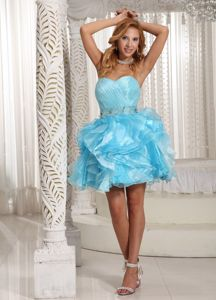 Sweetheart Aqua Blue Short Beaded Graduation Dresses with Ruffle