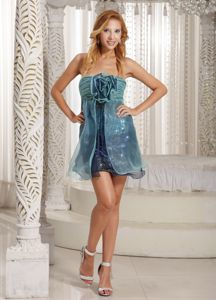 Aqua and Navy Blue Strapless Short Graduation Dress with Flowers
