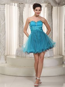 Teal Sweetheart Mini-length Beaded Graduation Ceremony Dresses