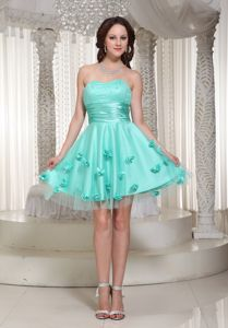 Turquoise Sweetheart Short Senior Graduation Dresses with Flowers
