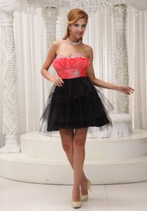 Affordable Two-Toned Beaded Short Graduation Dress about 100