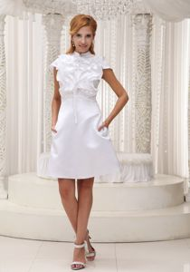 High-Neck Cap Sleeves Short Graduation Dress with Ruffled Bodice