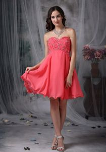 Chiffon Coral Red Beaded Short Graduation Dresses Around 100