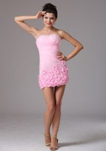 Cute Baby Pink Short Graduation Dresses with Flowers on Hem