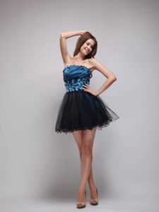 Appliqued Royal Blue and Black Short Senior Graduation Dress
