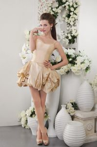 Cute Spaghetti Straps Champagne Graduation Dress with Pick-ups