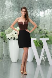 Mature Slot Neck Brown and Black Mini Graduation Dress Online
