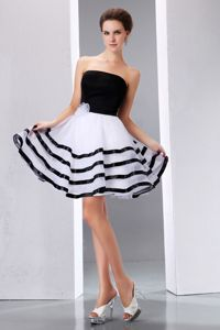 Strapless White and Black Short Graduation Dress for 8th Grade