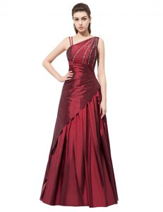 Fantastic Burgundy Side Zipper Graduation Dresses Beading and Bowknot Sleeveless Floor Length