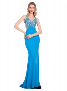 High Class Silk Like Satin V-neck Sleeveless Clasp Handle Beading Graduation Dresses in Baby Blue