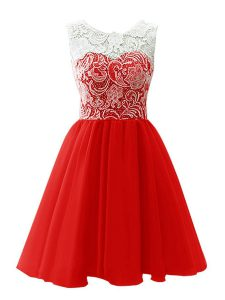 Luxury Scoop Red Sleeveless Mini Length Lace Clasp Handle Graduation Dresses
