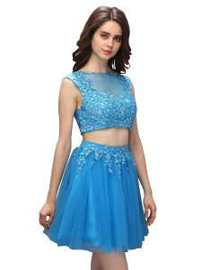 Baby Blue Tulle Zipper Asymmetric Sleeveless Mini Length Graduation Dresses Beading and Appliques
