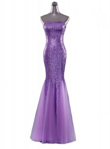 Simple Mermaid Sequins Graduation Dresses Eggplant Purple Zipper Sleeveless Floor Length