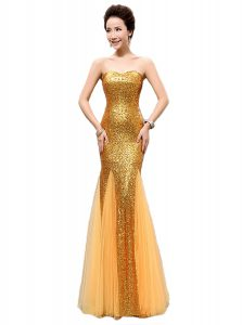 Discount Mermaid Sequins Gold Sleeveless Sequined Zipper Graduation Dresses for Prom and Party