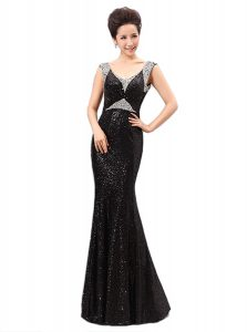 Dramatic Black Zipper Graduation Dresses Sequins Sleeveless Floor Length